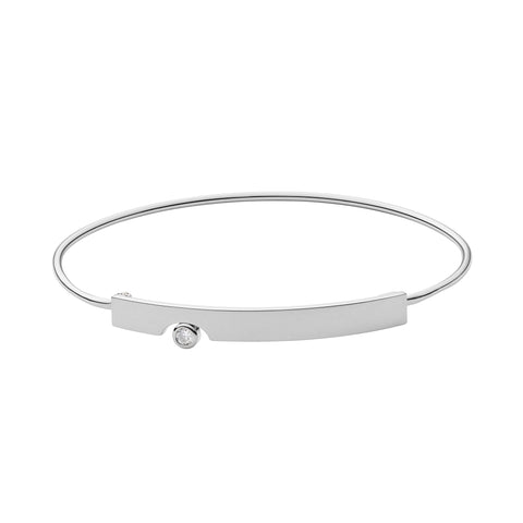 Skagen Elin Silver-Tone Crystal Bangle SKJ1028