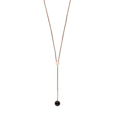 Skagen Ellen Rose-Tone and Onyx Lariat Necklace SKJ1040