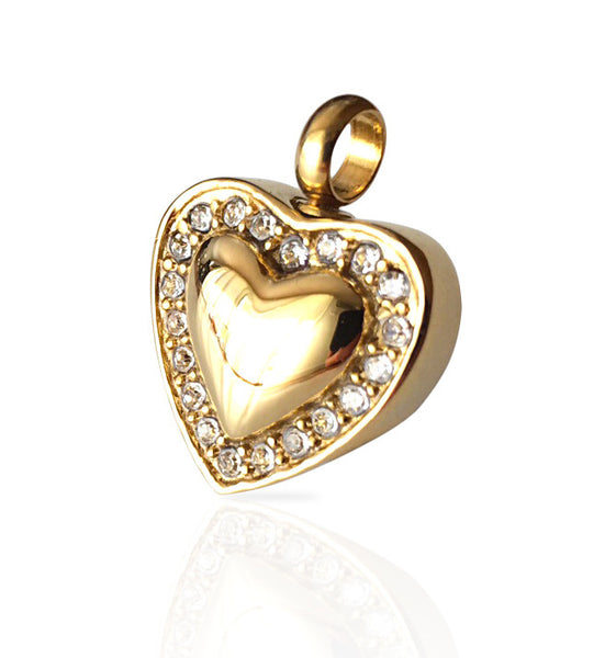 LIFE CYCLE CREMATION PENDANT - GOLD SWEET HEART