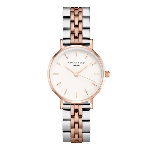 Rosefield Small Edit White Steel Silver Rose Gold Duo - 26mm