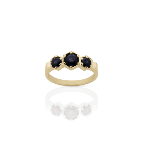 Meadowlark 3 Hexagon Stone Ring - 9ct Yellow Gold & Midnight Sapphire