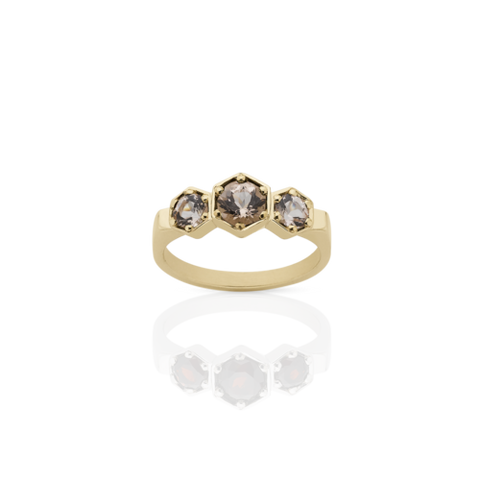 MEADOWLARK 3 HEXAGON STONE RING - 9CT YELLOW GOLD & MORGANITE
