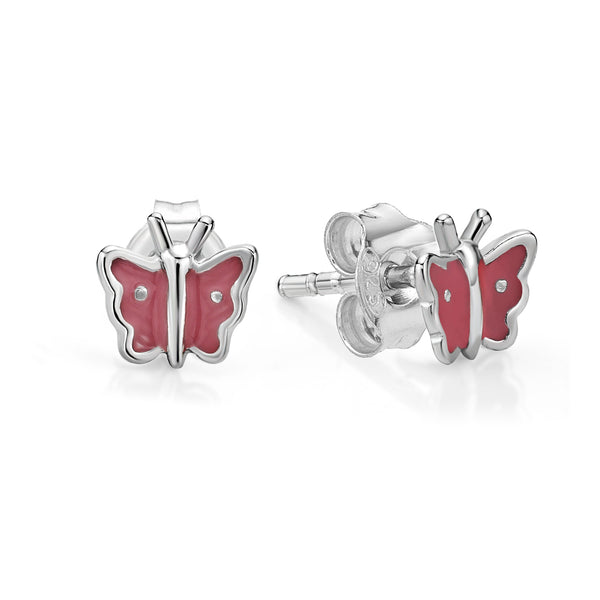 Silver Butterfly Studs - Pink Inlay
