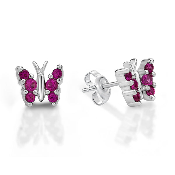 Silver Butterfly Studs - Red Crystal