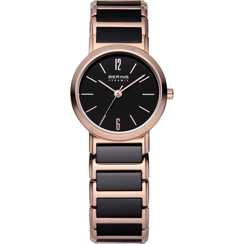 Bering Ladies Black Ceramic & Rose Link Watch 30226-746