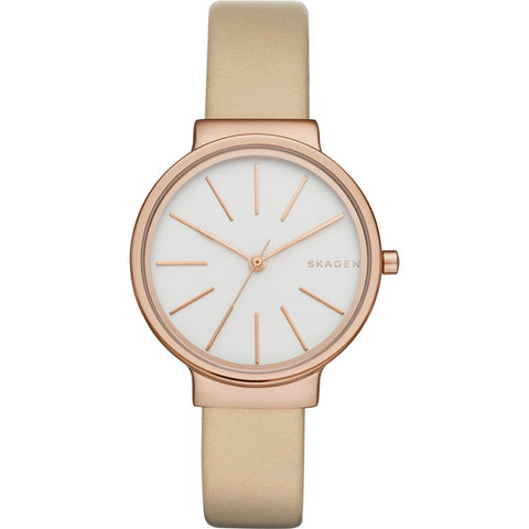 Skagen Ladies Ancher Oatmeal Leather Strap Watch SKW2481