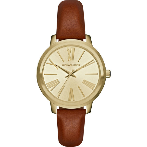 Michael Kors Ladies Hartman Brown Leather Strap Watch