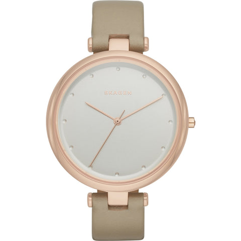 Skagen Ladies Tanja Oatmeal Leather Strap Watch SKW2484