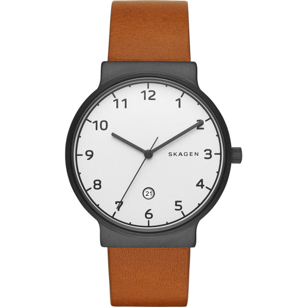 Skagen Mens Ancher Light Brown Leather Strap Watch SKW6297