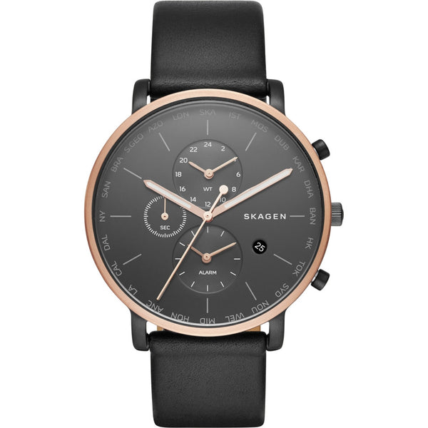 Skagen Mens Hagen Black Leather Strap Watch SKW6300