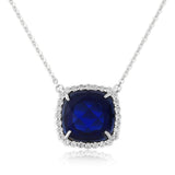 WATERFORD SYNTHETIC SAPPHIRE & CZ SET PENDANT WP131