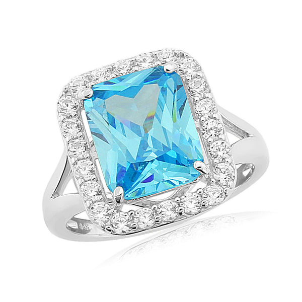 WATERFORD SYNTHETIC SKY BLUE TOPAZ & CZ SET RING WR150 - SIZE LARGE