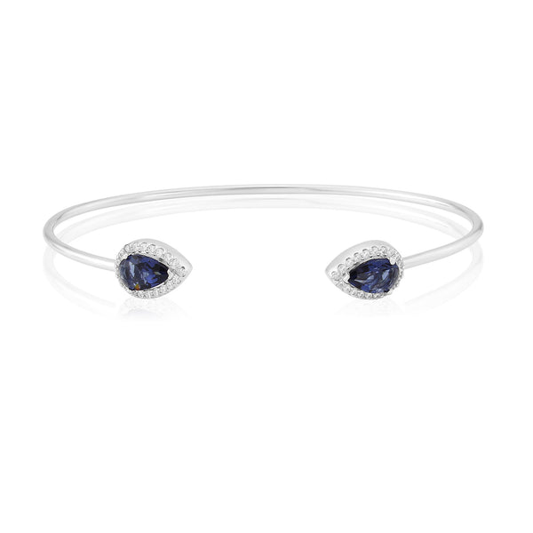 WATERFORD S/S SYNTHETIC SAPPHIRE AND CZ BANGLE WB167