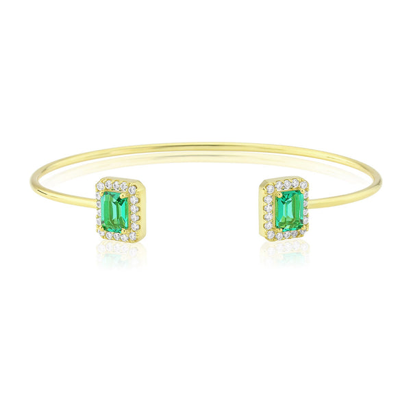 WATERFORD S/S SYNTHETIC EMERALD AND CZ BANGLE WB168