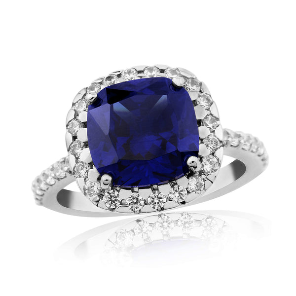 Waterford Cushion Synthetic Sapphire & CZ Set Ring Small - WR221