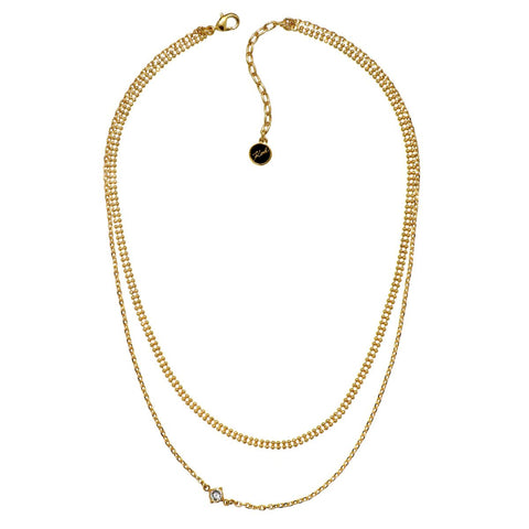 Karl Lagerfeld Gold Plated Layered Mixed Chain Charm Necklace