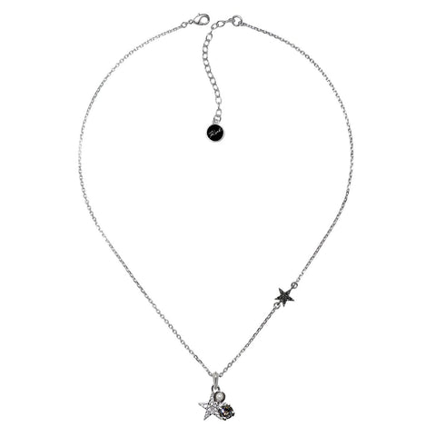 Karl Lagerfeld Silver Plated Eclectic Stud Necklace