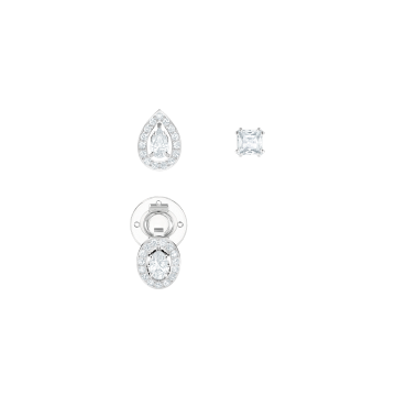 Swarovski Pierced Earrings, White, Rhodium Plate