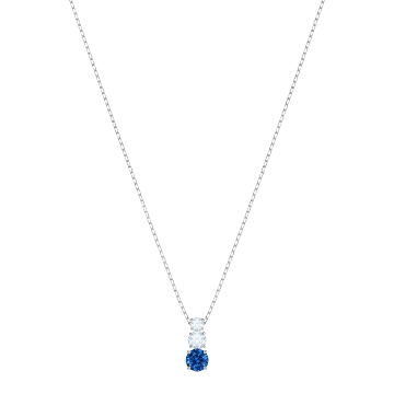 Swarovski Attract Trilogy Round Pendant, Blue, Rhodium Plate