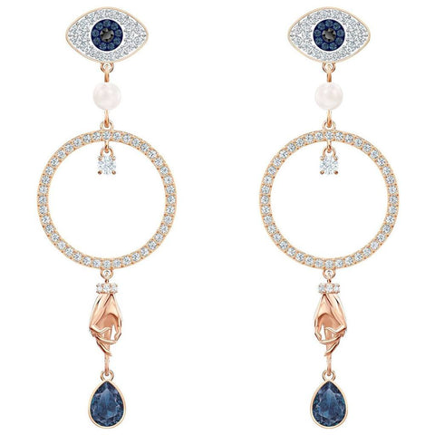 Swarovski Symbolic Hoop Circle Pierced Earrings, Light Multi-Coloured, Rose-Gold Plated