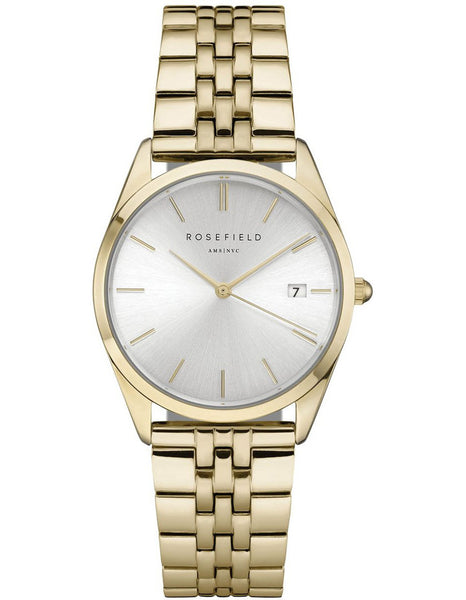Rosefield 'The Ace' Silver Dial Yellow Gold Watch - ACSG-A03