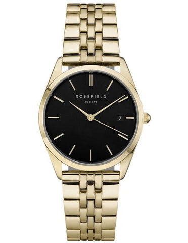 Rosefield 'The Ace' Yellow Gold Black Dial Watch - ACBKG-A13
