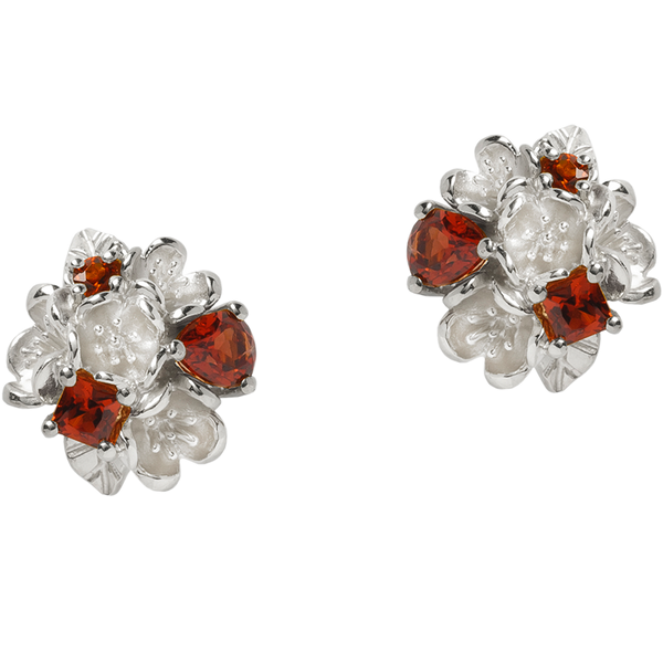 Karen Walker Rock Garden Earrings - Silver, Garnet