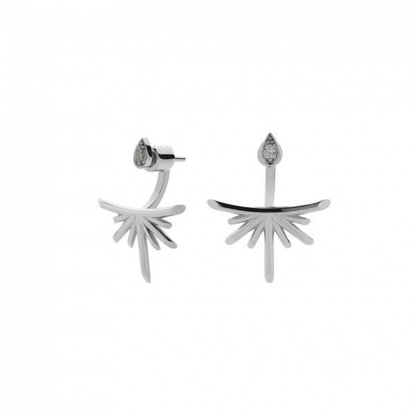 Meadowlark Petal Burst Ear Jackets - Sterling Silver & Grey Diamond