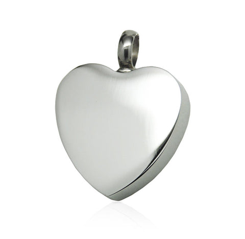 LIFE CYCLE CREMATION PENDANT - BRUSHED SILVER CLASSIC HEART