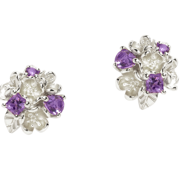 Karen Walker Rock Garden Earrings - Silver, Amethyst