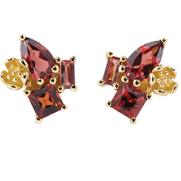 Karen Walker Rock Garden Earrings - 9ct Gold, Garnet