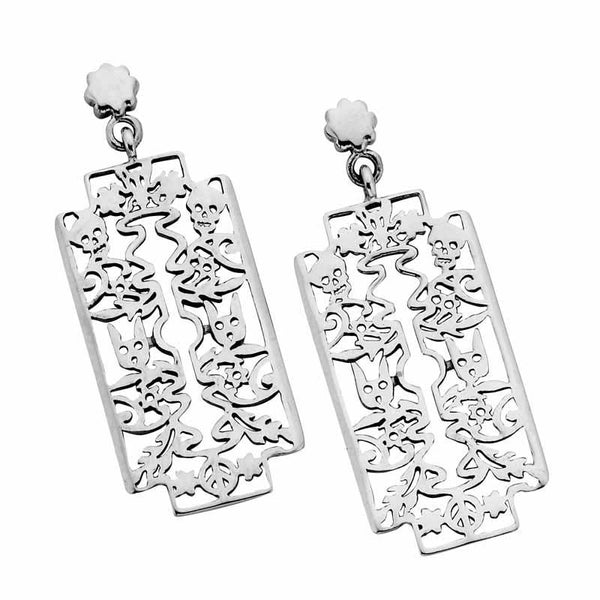 Karen Walker Filigree Razor Earrings - Silver