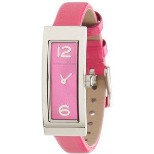 Marc Jacobs Logo Plaque Silver Tone Pink Leather Watch MBM1291