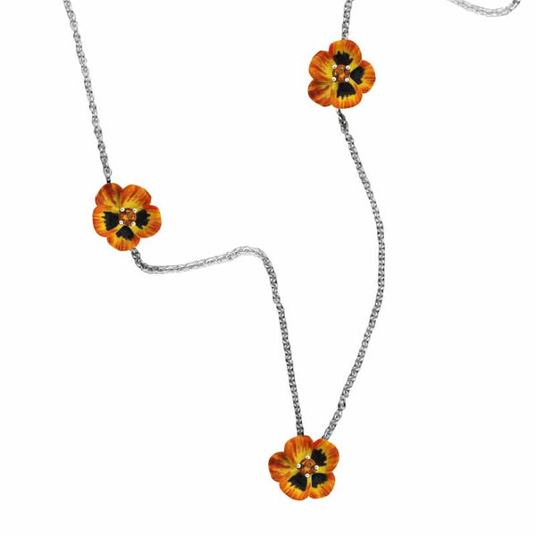 Karen Walker Pansy Necklace, Small Pansies - Silver, Yellow Enamel, Citrine