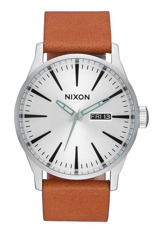 Nixon Sentry Leather - Silver / Tan