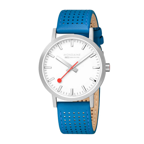 Mondaine Classic Spring/Summer - White Dial, Silver & Sky Blue Strap