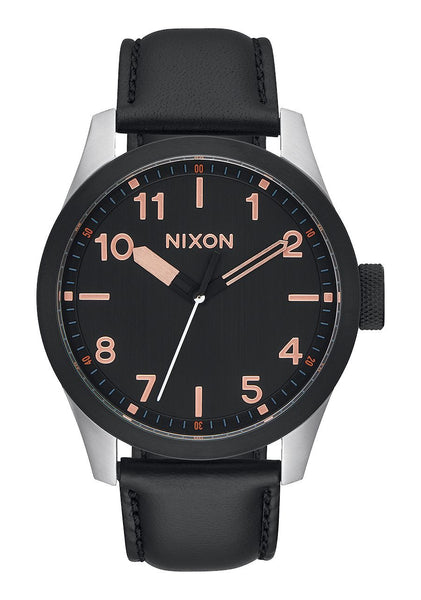 Nixon Safari Leather - Black / Rose Gold Watch
