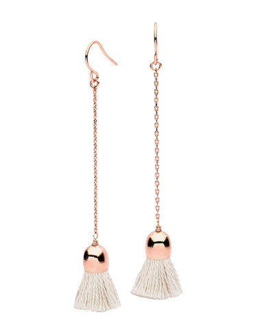 Candytuft Rose Gold Earrings with White Tassels