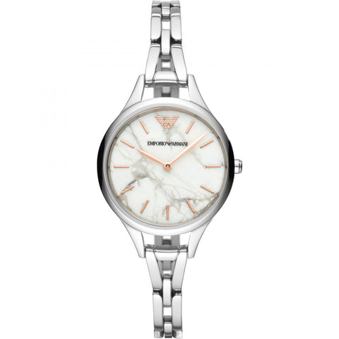 Emporio Armani Stainless Marble Dial Womens Watch - AR11167