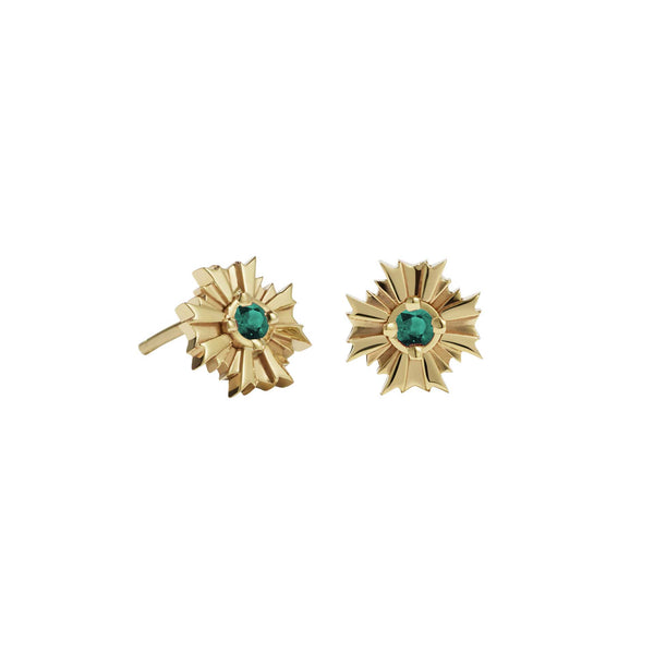 Meadowlark August Stud Earring - Gold Plated - Emerald