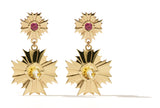 Meadowlark August Drop Earrings Small - Gold Plated - Pink Tourmaline & Citrine