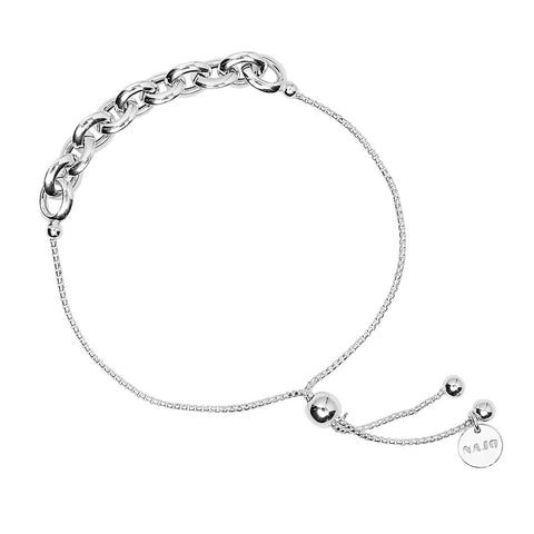 Najo - Barbara Bracelet - Graduated Oval Link Tube Chain With Sliding ball