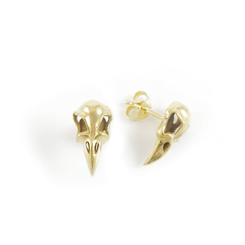 Nick Von K Gold Dipped Raven Skull Stud Earrings