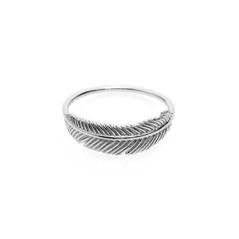 Boh Runga Miromiro Feather Ring Size M - Sterling Silver