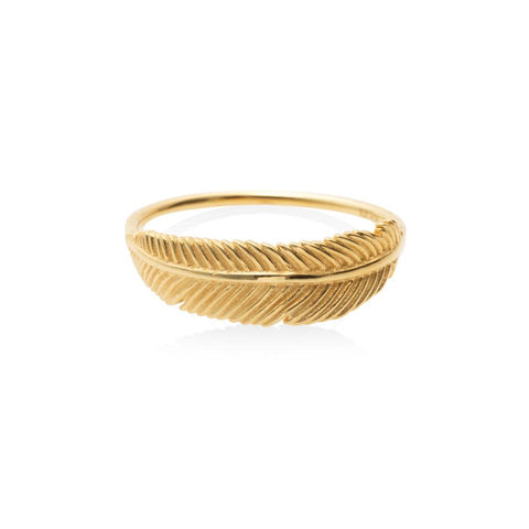 Boh Runga Miromiro Feather Ring Size O - Yellow Gold