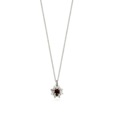 Meadowlark Protea Charm Necklace - Silver, Thai Garnet