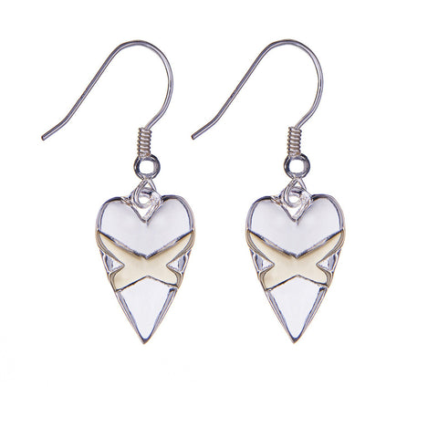 Cross My Heart Earrings - Silver & Yellow Gold