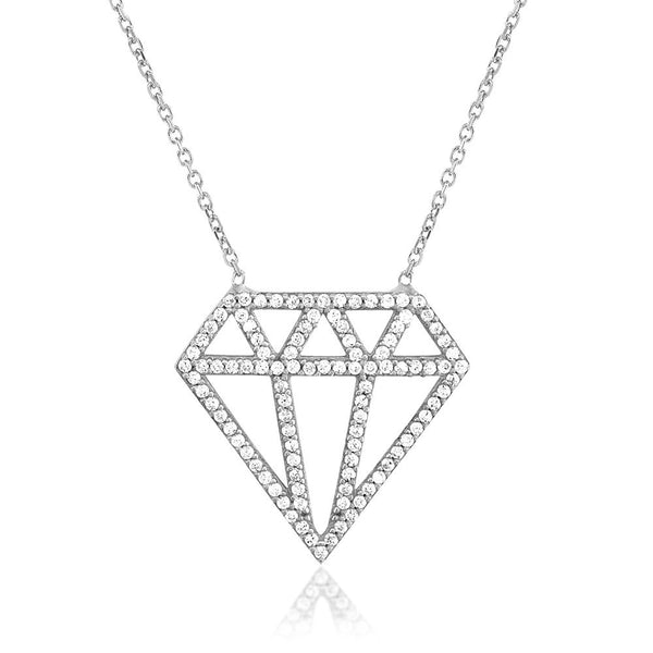 OPEN DIAMOND PENDANT - SILVER