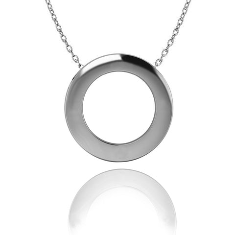 Love In A Jewel Circle Of Love Pendant - Silver, Plain