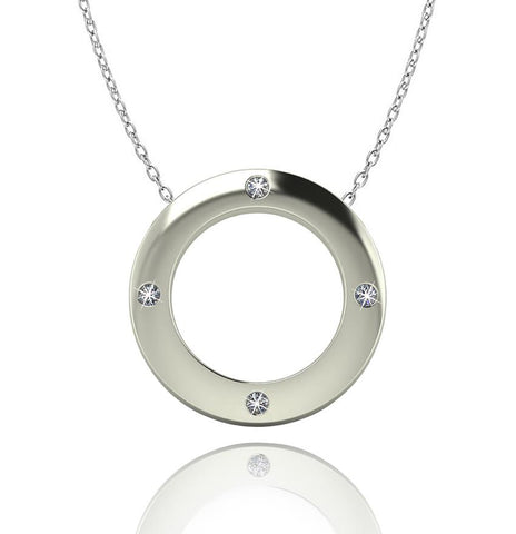 Love In A Jewel Circle Of Love Pendant - Silver with Diamonds